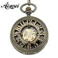 2016 New Steampunk Bronze Steel Skeleton Pocket Watch Arabic Roman Number Reloj De Bolsillo Men Lady FOB Watch