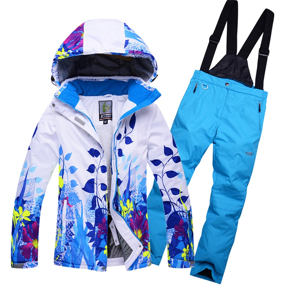 Mens snowboard suit Fleeced Hooded Ski Jackets + Bib Snowpants Set Man Winter Sports Snow Wear Clothes Male Thermal Breathable