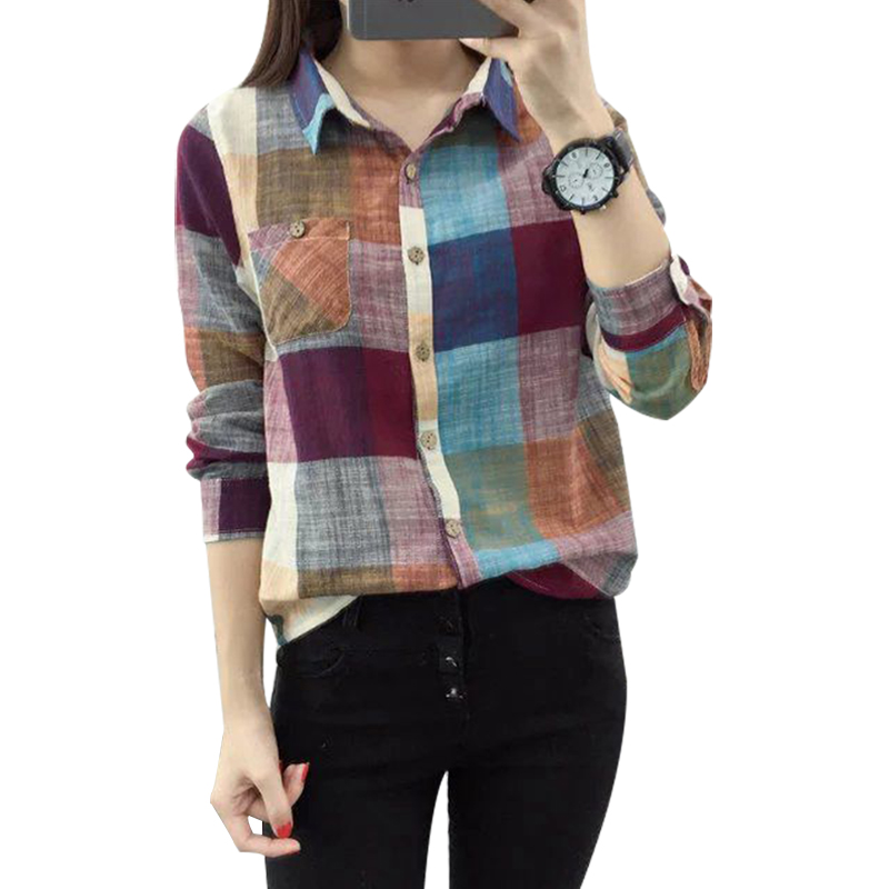2019 Summer New Plaid Women Blouse And Shirts 100% Cotton Loose Long Sleeved All Match Colorful Lady Shirts Outwear Tops