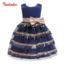 Summer New Beautiful Bow-Knot Princess Tutu Dress Sequin Lace Girls Wedding Theme Party Ball Gown Vestido
