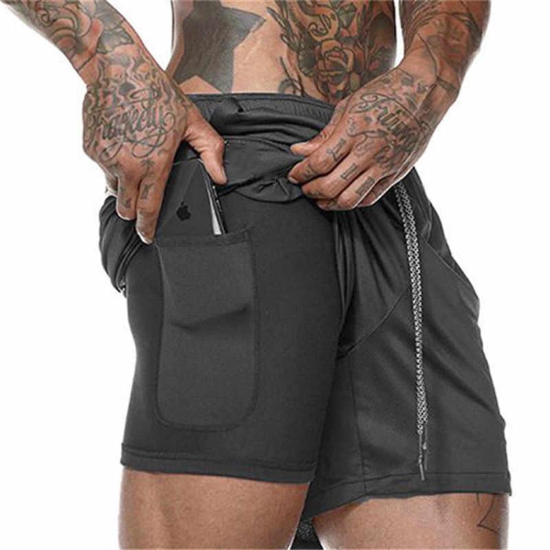 Nova chegada 2019 verão duplo-deck dos homens de fitness musculação respirável secagem rápida curto ginásios masculino casual joggers shorts