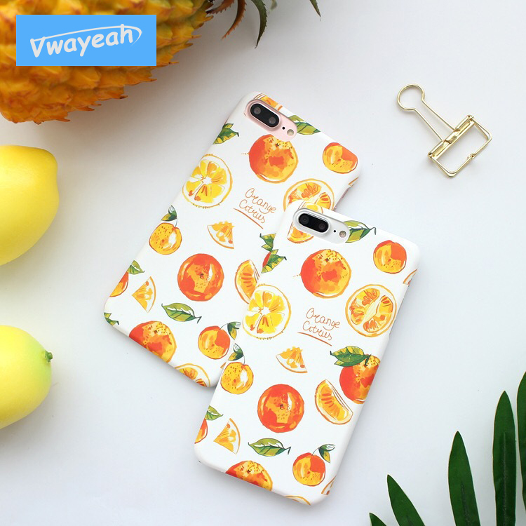 Ins Hot For iPhone 6 7 8 Plus Pure Art Wind Fresh Color Child-Free Style Brisk Summer Green Leaves Yellow Orange Tangerine Case