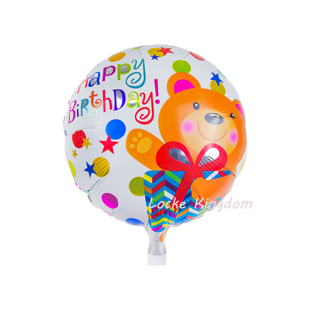 Lucky 50pcs Lot 4545cm Round Happy Birthday Love Bear Balloon Foil Helium Balloons