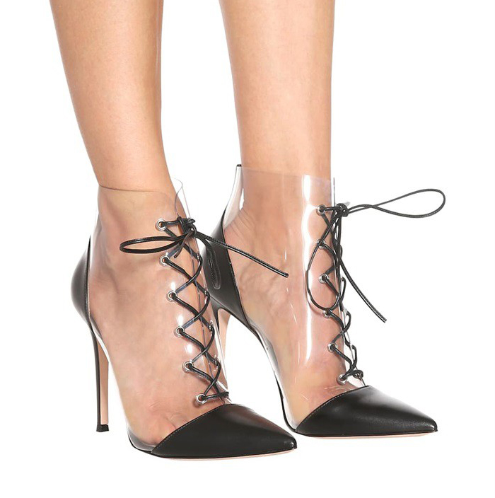 8311da1b99c PVC Pointed Toe Woman Thin High Heel Ankle Boots Black With Transpatent  Leather Lace up Short Boot Female Dress Shoes