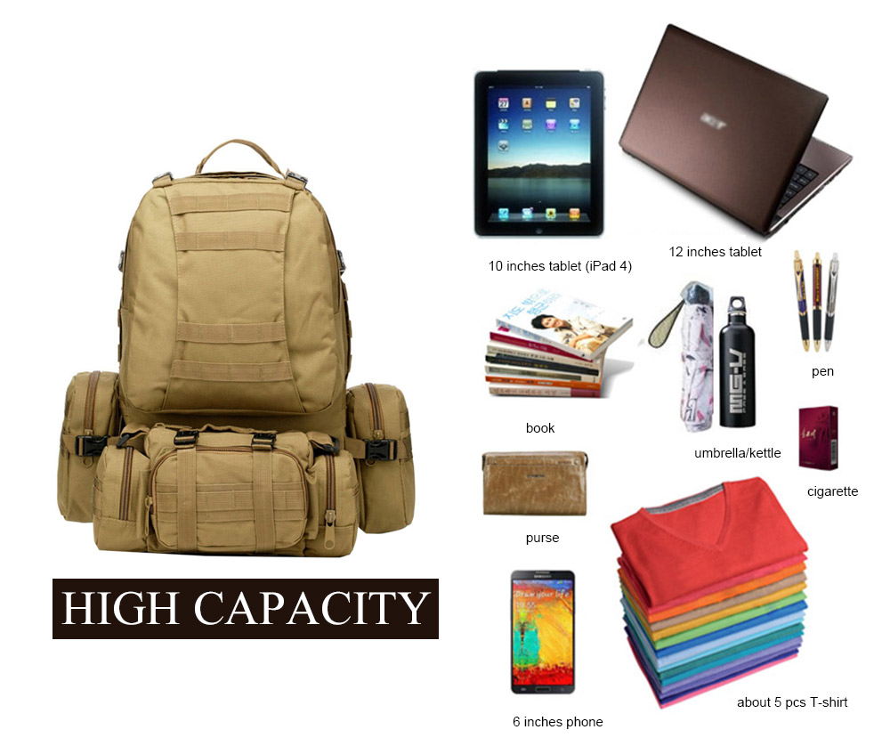 9 Warna Warna! Baru 50L Molle Tactical Backpack Assault Outdoor - Beg sukan - Foto 4