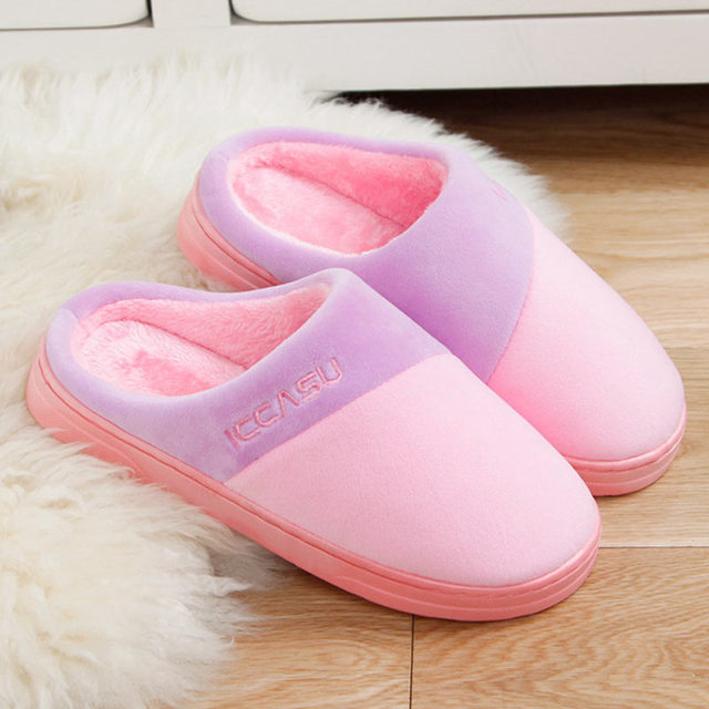 7b97deae9206 Warm Winter Slippers Women Pantoffels Dames Couple Cotton Shoes Plush Indoor  Floor Bedroom Flat Slippers for Women