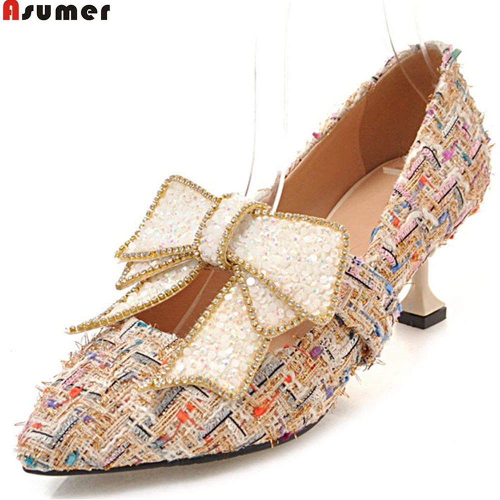 ASUMER big size 33-43 fashion pointed toe shallow elegant wedding shoes woman pumps women shoes butterfl knot high heels shoes blue extrem high heel shoes 2018 snake printing women shoes fashion shallow mouth pumps woman wedding shoes big size