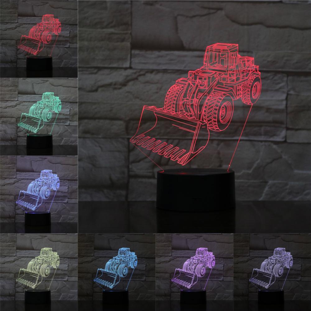 Scrapper Cart 3D Lamp Illusion RGB Night Light LED Bulb Multi-color Flash Fade Holiday Spading Machine Shovel USB Kid Toy Lava