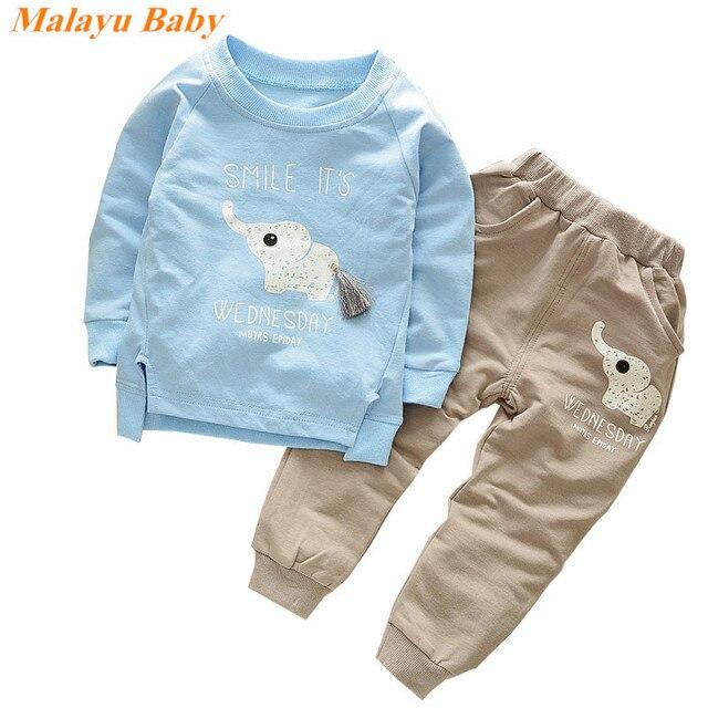 Malayu Baby/2018 Осенняя мода Стиль С Рисунком Слона для маленьких мальчиков Комплекты рубашка с длинными рукавами + брюки 2 шт. спортивная детская одежда; Одежда для мальчиков