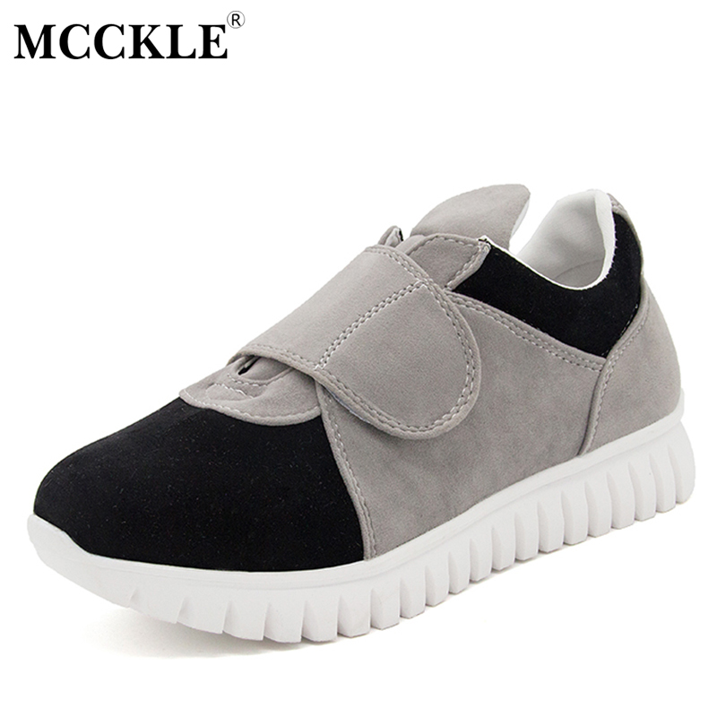 MCCKLE Woman Flat Hook Loop Slip On Casual Shoes 2017 Women's Fashion Comfortable Autumn Flock Platform Black Style Footwear mcckle 2017 fashion woman shoes flat women platform round toe lace up ladies office black casual comfortable spring