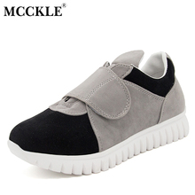 MCCKLE Woman Flat Hook Loop Slip On Casual Shoes 2017 Women's Fashion Comfortable Autumn Flock Platform Black Style Footwear