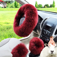New 3pcs Set Winter Car Steering Wheel Cover Long Australian Wool Plush 38cm Heated Fur Genuine