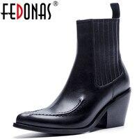 FEDONAS/обувь на высоком каблуке, женские туфли лодочки из натуральной кожи, осенне зимние мотоботы на толстом каблуке, женские короткие Ботинк