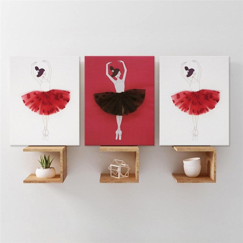 3 pcs/ensemble Nordique Bande Dessinée Rouge Ballet De Danse Filles art Mural toile pour affichage Imprimer Peinture Murale Salon décoration d'intérieur Fond Chaude