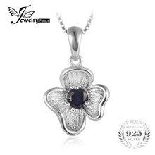 JewelryPalace Flor 0.34ct Creado Azul Zafiro Colgante Para Las Mujeres de Plata de ley 925 Accesorios de Joyería Fina Sin Cadena