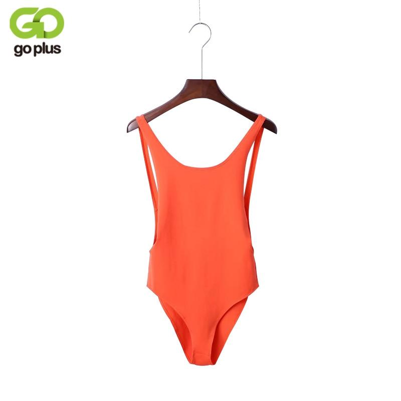 GOPLUS Sexy Bodysuit 2019 Summer Orange Sleeveless Backless Women   Jumpsuit   Bandage Body Romper Casual Ladies Slim Bodysuit C3996