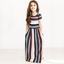 Kids Baby Girls Dresses Striped Clothes Outfits