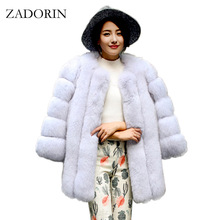 Fluffy Jacket Coat Faux-Fox-Fur ZADORIN Plus-Size Winter Luxury Long Warm Thick Abrigo