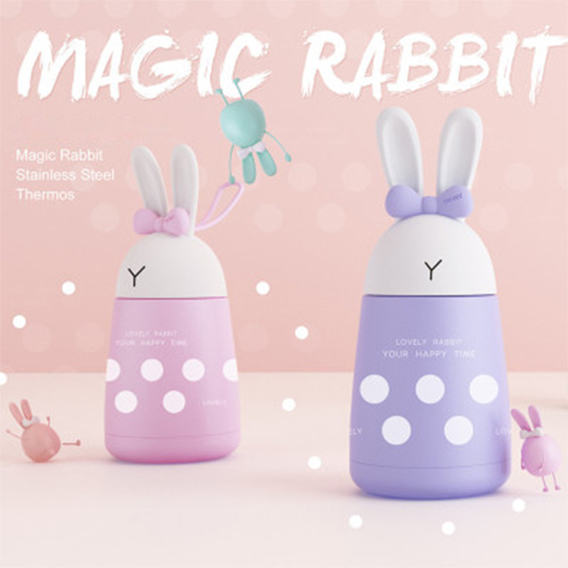 Cute Rabbit <font><b>Baby</b></font> Cup Milk Thermos Girls Insulated Drinking Bottle Stainless Steel Thermal Cup Leak-<font><b>poof</b></font> 300ml Thermal Vaccum image