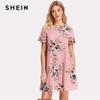 SHEIN Flower Print Swing Dress Women Pink Round Neck Short Sleeve Casual Short Dress 2018 Summer