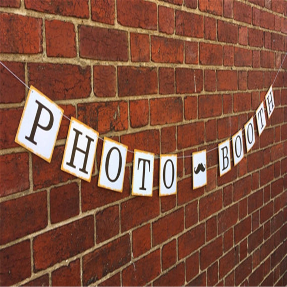 Vintage Bunting Photo Booth Wedding Gift Banner Garland Baby Shower Photobooth Props Birthday Decoration Party Favor Supplies