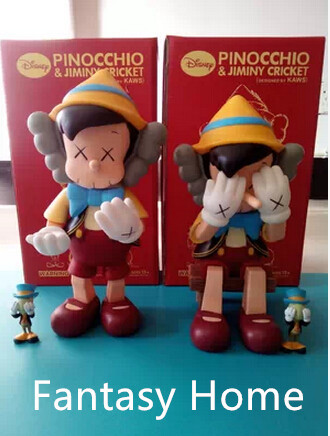Hot Sell OriginaFake Kaws Companion Pinocchio&Jiminy Cricket Stand/Sit  Pvc Resin Anime Action  Figures With Box Free Shipping patrulla canina with shield brinquedos 6pcs set 6cm patrulha canina patrol puppy dog pvc action figures juguetes kids hot toys