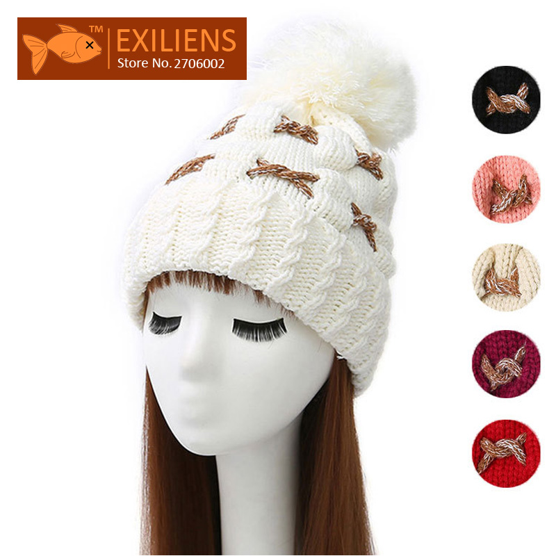Pom pom Woolen Winter Hat String Women's Beanies Plus velvet Warm Knitted Bobble Hats Caps Hip Hop Skull Cap Bonnet Black 2016 new toseek ud matte full carbon fiber integrated road bicycle handlebar bike handlebar 400 420 440mm