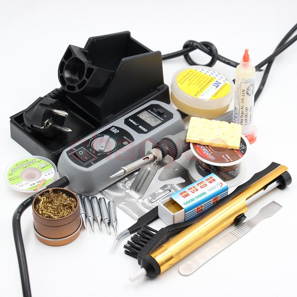 ФОТО YIHUA 908D 220V & 110V 60W Heated iron LED Digital Display Soldering Station Iron +Iron stand solder