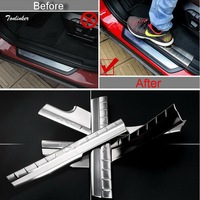 4 PCS Car New DIY Stainless Steel Built Threshold Decorative Light Strip Cover Case For Bmw