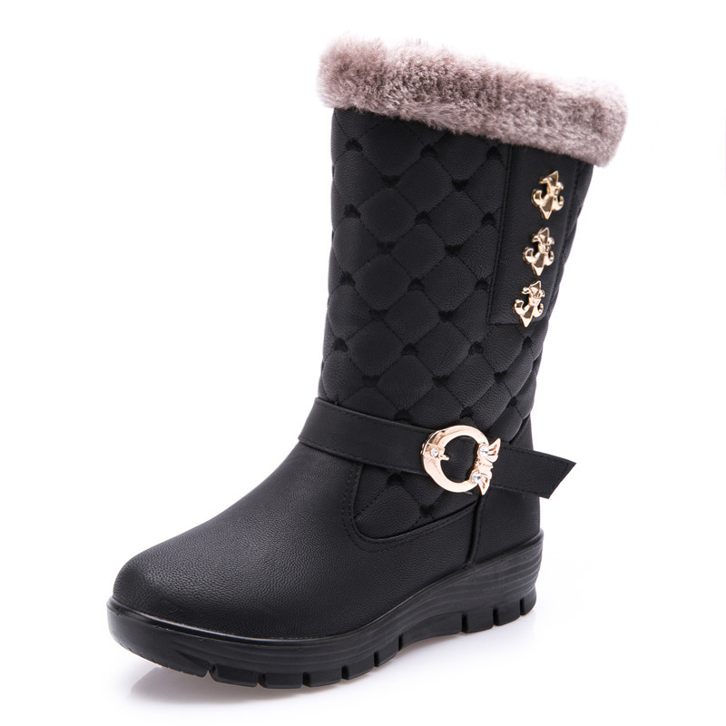 Snow boots winter new style fleece thickened high quality women boots keep warm comfortable round toe Middle cylinder snow boots only true love high quality women boots winter snow boots