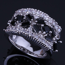 Prominent Black Cubic Zirconia White CZ 925 Sterling Silver Ring For Women V0552