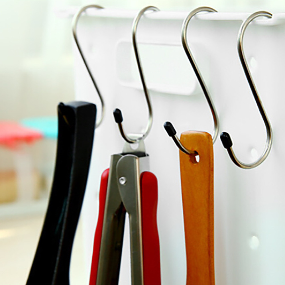 4Pcs/set Stainless Steel Round S Shaped Hooks House Kitchen Pot Pan Hanger  Clothes Storage Rack Hanging Tool Oraganizer