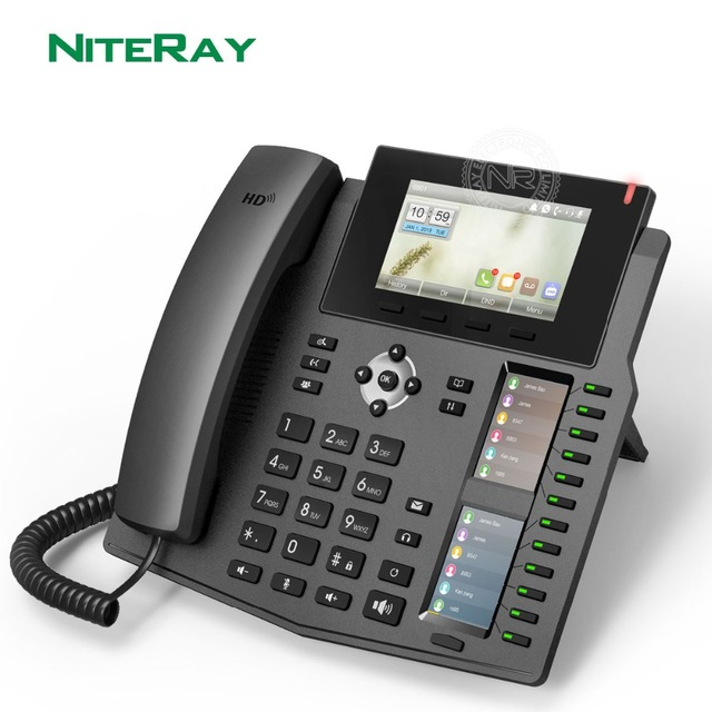 X6 IP Phone Enterprise Desktop Phone which with 2 intelligent DSS Key Mapping Color LCD VoIP Telephone