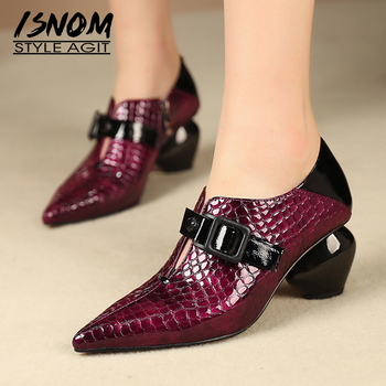 ISNOM Emboss Pu Pumps Women Autumn Pumps Pointed Toe Woman Strange Style High Heels Shoes Female Mules Shoes Ladies 2019 New