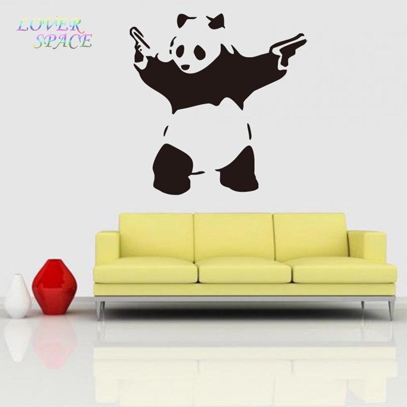 Banksy Panda Waving Hand Guns Vinyl Wall Sticker Wall Decal Poster ...
