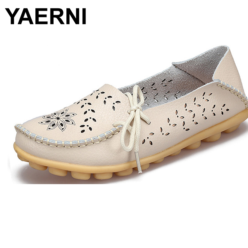 YAERNI  2017 Ballet Summer Cut Out Women Genuine Leather Shoes Woman Flat Flexible Round Toe Nurse Casual Fashion Loafer  wolf who 2017 summer loafers cut out women genuine leather shoes slip on shoes for woman round toe nurse casual loafer moccasins