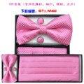 Envío libre para hombre vestido formal traje cinturón ventral pajarita toalla caja de regalo 4 correa novio rosa