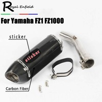 FZ1N Slip On For Yamaha FZ1 FZ1000 Motorcycle Exhaust Muffler Set with Middle Pipe Connector Link Pipe Tube 51mm Carbon Escape