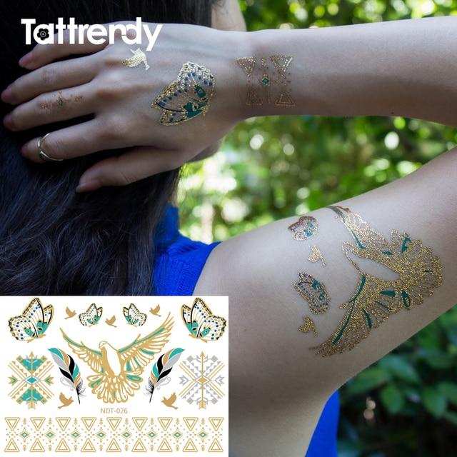 Or Tatouage Temporaire Flash Bras Epaule Oiseau Papillon Plume