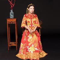 Red embroidery style formal dress royal phoenix wedding cheongsam costume bride vintage Chinese traditional Tang suit Qipao