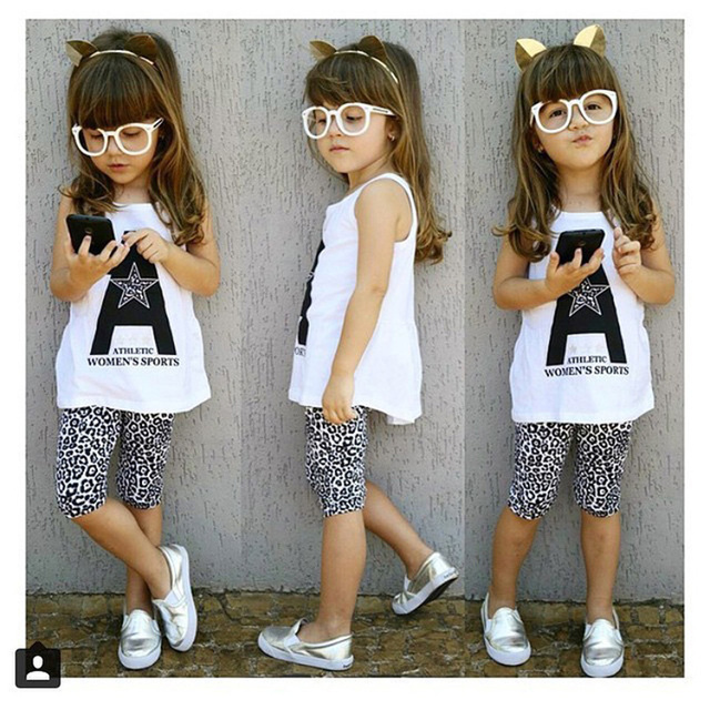 7d1a6e81b4096 2016 New Girls Summer Sets Fashion Vetement Enfant Fille Casual Girl  Clothes Set Cool Ropa Para