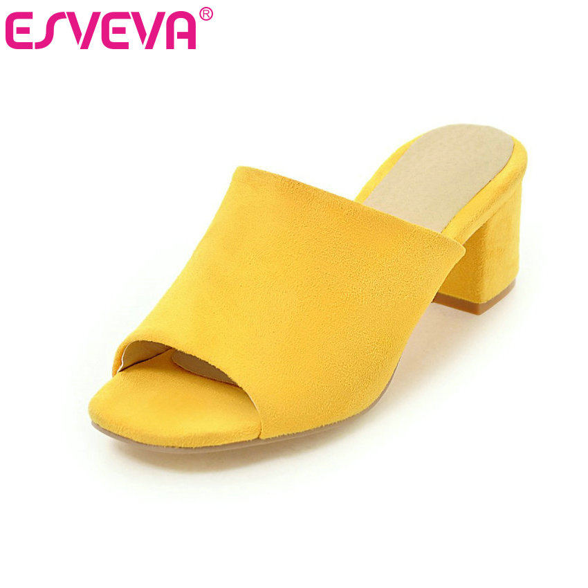 ESVEVA 2017  Slip on Peep Toe Summer Shoes Square Med Heel Women Sandals Yellow Black Flock Fashion Party Shoes Big Size 34-43 xiaying smile summer women sandals casual fashion lady square heel slip on flock shoes pointed toe cover heel lace bowtie shoes
