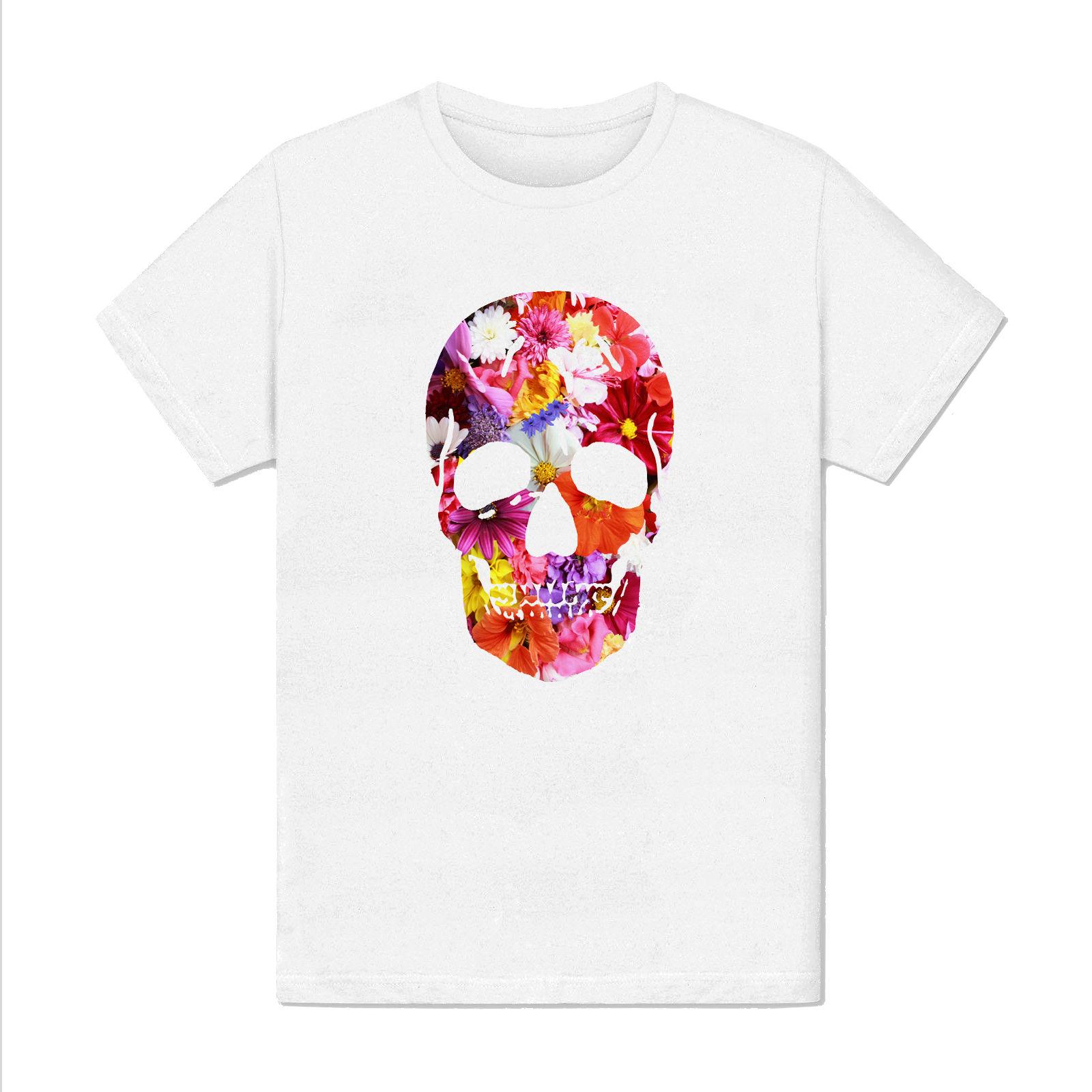 Womens T-shirt Homme - Fleur Skull - Design jour des morts hommage paix mort mode