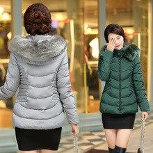 Winter Jacket Women Parka Faux Rabbit Fur Collar Hooded Woman Short Coats 2016 Fashion Outerwear Wamen