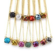 Wholesale Kate Small Square Glitter Necklace Choker Female Fashion Party Necklace  Pendant Jewelry(China) 6999b76fb1a0