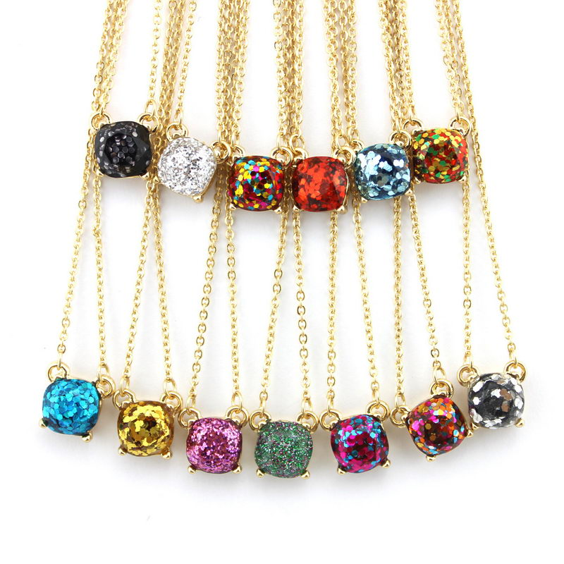Wholesale Kate Small Square Glitter Necklace Choker Female Fashion Party Necklace Pendant Jewelry
