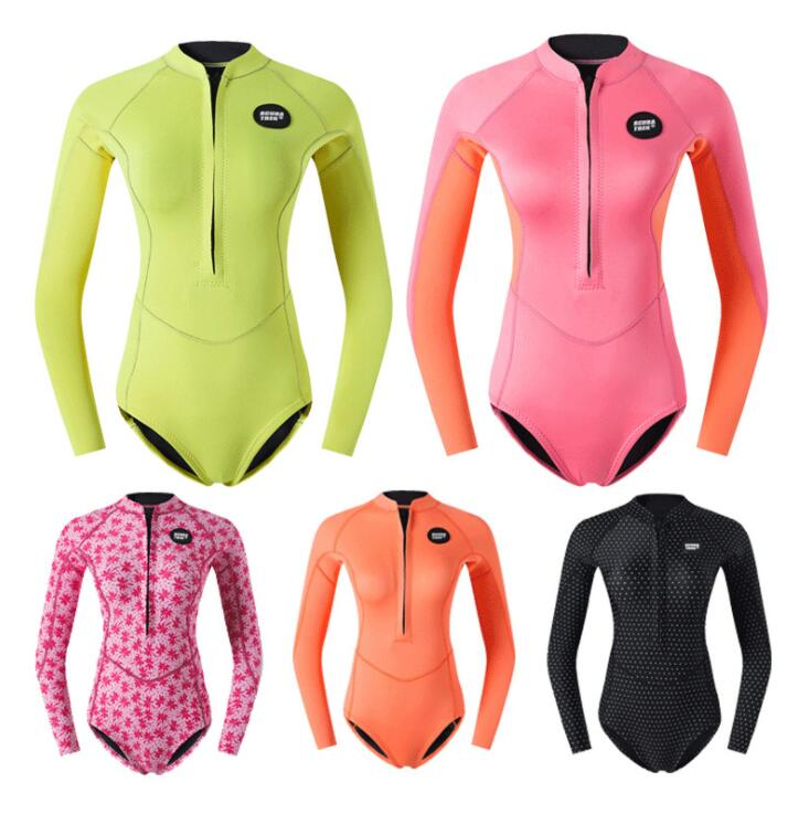 2 mm Diving Suit Women's Sunscreen Warm Snorkeling Suit Long Sleeve Linkage Swimming Suit Thickened Jellyfish Suit Free Diving S
