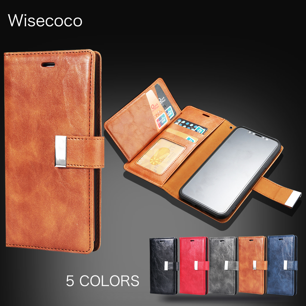 luxury Leather case For iPhone 8Plus 7plus Case Retro Wallet Flip Cases For iPhone 5 6 6s 7 8 Plus 5S SE Hoes For iphone X cover