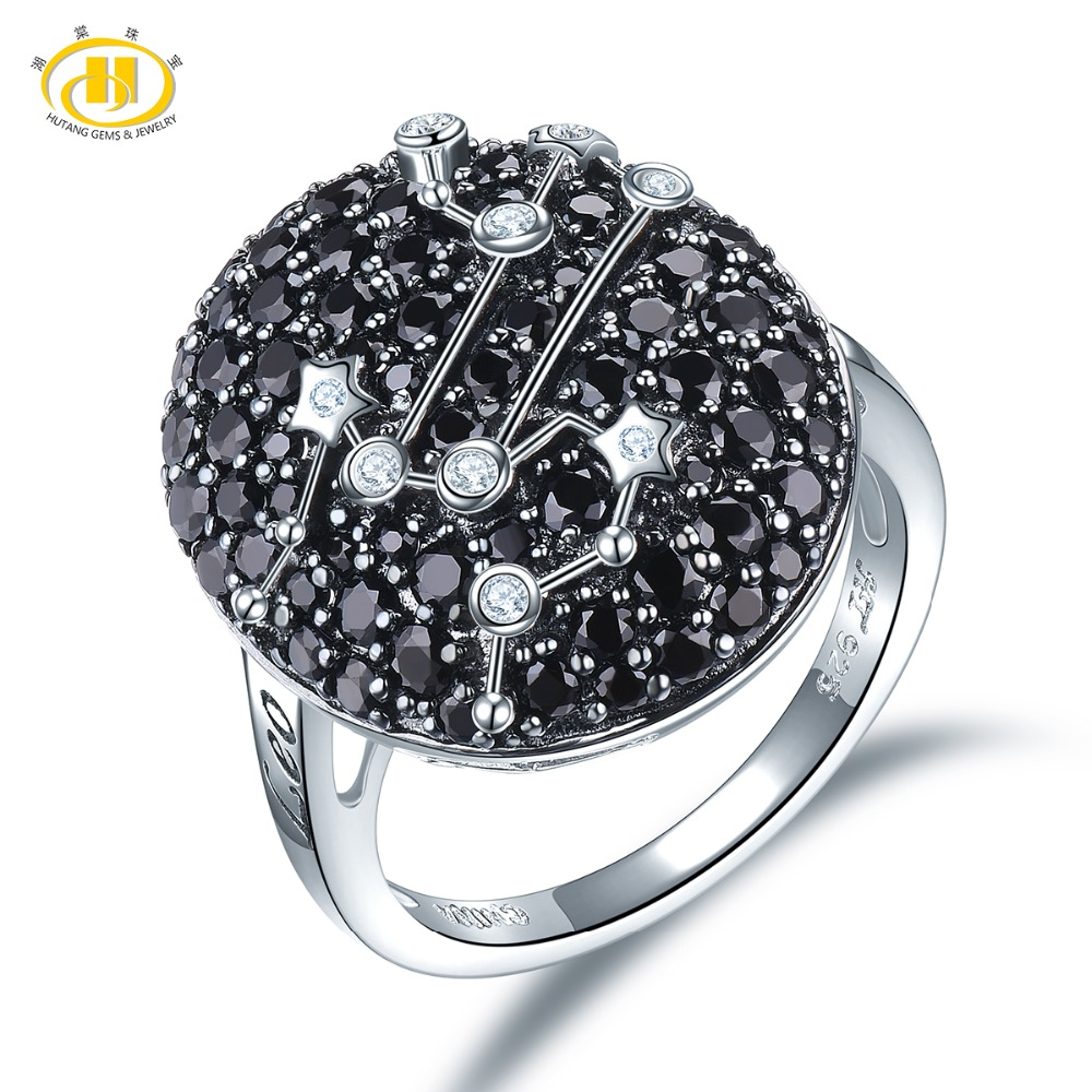 Hutang Leo Zodiac Rings Natural Black Spinel 925 Silver Ring Fine Gemstone Jewelry Birthday Gift 23th