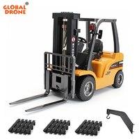 Глобальный Drone RC грузовик 1/10 HUINA игрушки 1577 2 в 1 RC погрузчик/кран 2,4 ГГц 8CH строительная машина Радиоуправляемый Трактор модель